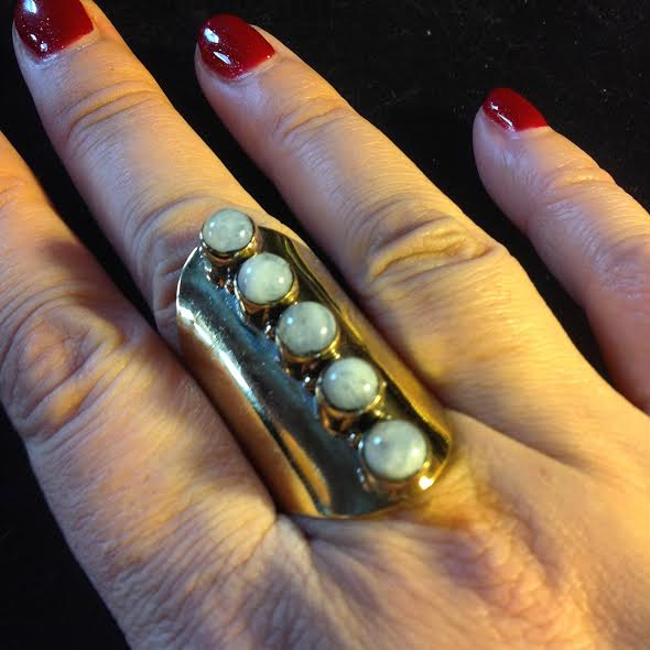 Image of Bring out the Inner Truth of your Goddess~Moonstone and Brass knuckle ring
