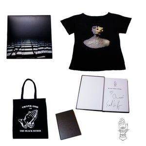 Image of $90 BUNDLE - SIGNED LP + HAND WRITTEN LYRICS + TEE + TOTE