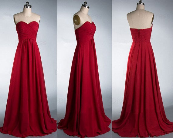 Pretty Custom Handmade Beautiful Simple Sweetheart Red Prom Dresses, Red Bridesmaid Dresses 2017