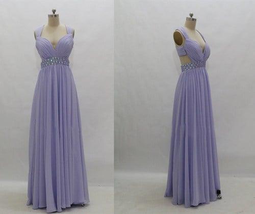 Lovely Handmade Lavender A-Line Straps Cross-Back Floor Length Prom Dress 2016,Lavender Prom Dresses