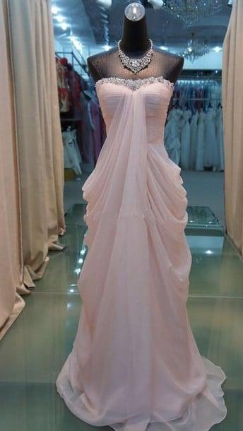 Pretty Pink Handmade Floor Length Prom Dresses 2017, Bridesmaid Dresses