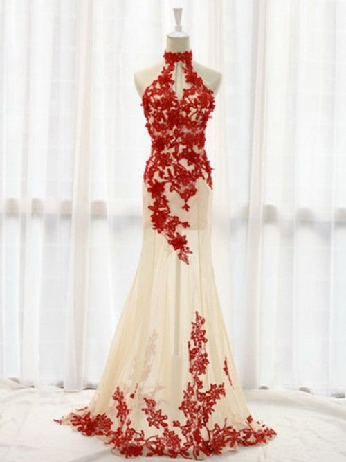 Sexy Red Tulle Halter Prom Gown with Lace Applique, Sexy Formal Gowns, Evening Gowns