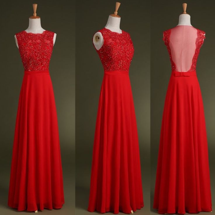 Gorgeous Chiffon Red Long Scoop Prom Dresses, Red Prom Dresses , Formal Gowns