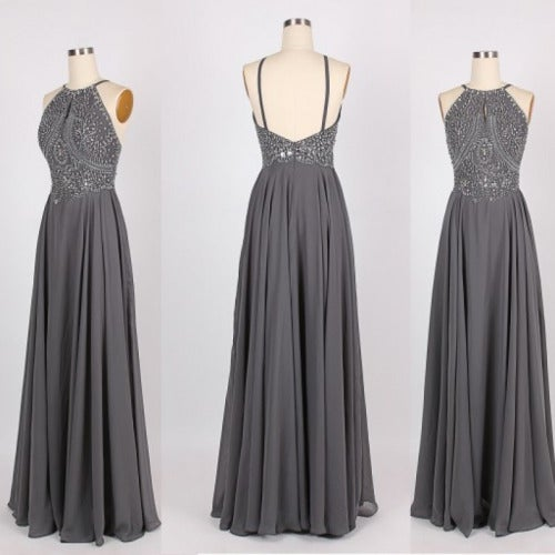 Gorgeous Grey Straps Beaded Prom Dresses 2017, Prom Dresses, Evening Gowns 2016