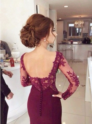 Beautiful Handmade Burgundy Mermaid Lace Prom Gowns 2017, Evening Dresses, Burgundy Formal Gowns