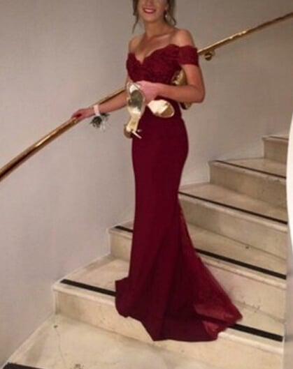 Amazing Off Shoulder Burgundy Mermaid Lace Prom Dresses , Mermaid Evening Dresses