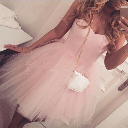 Cute Pink Short Tulle Prom Dresses , Homecoming Dresses, Graduation Dresses
