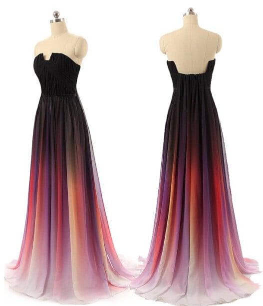 Charming Handmade Chiffon Gradient Prom Dress, Gradient Prom Dresses,Evening Dresses