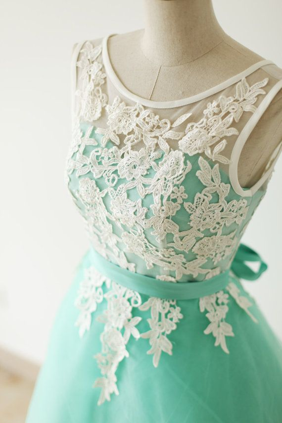 Elegant Mint Turquoise Tulle Short Formal Dress With White Lique Bridesmaid Dresses Bemybridesmaid