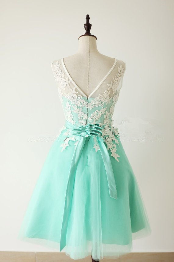 Elegant Mint Turquoise Tulle Short Formal Dress With White Applique, Turquoise Bridesmaid Dresses