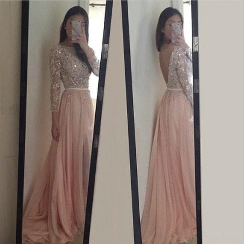 Pretty Handmade Backless 3/4 Sleeve Pink Applique Long Prom Dresses, Pink Formal Gowns