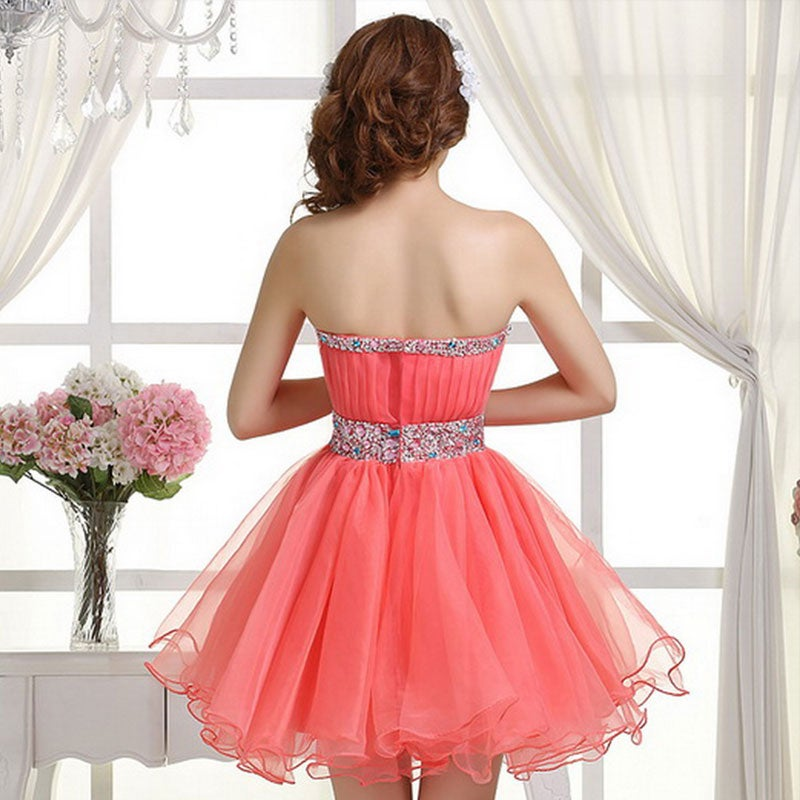 Custom Made Watermelon Ball Gown Short Prom Dresses , Homecoming Dresses, Short Party Dresses