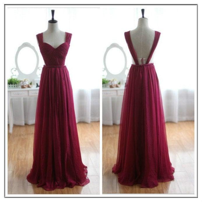 Charming Burgundy Chiffon Backless Prom Dresses , Burgundy Prom Dresses, Evening Dresses