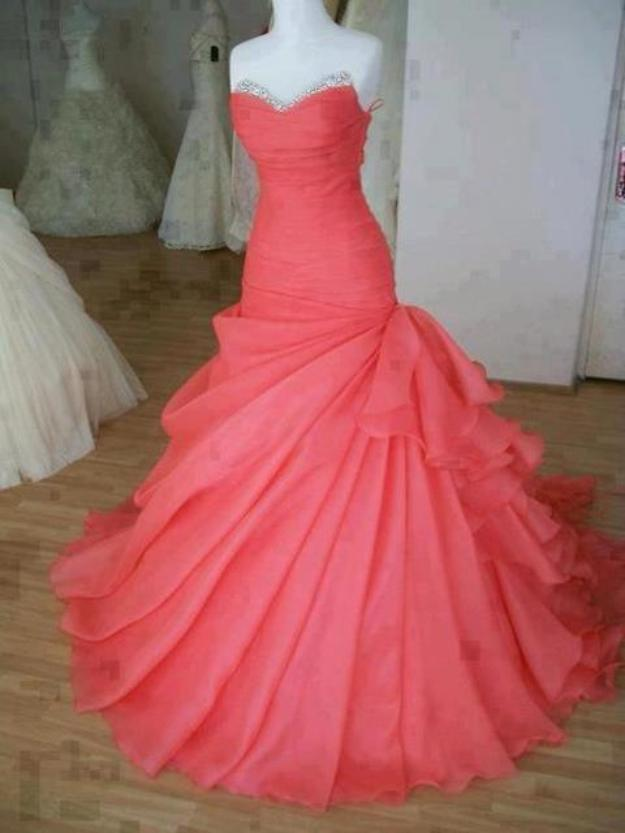 Gorgeous Handmade Watermelon Ball Gown Sweep Train Prom Dress,Prom Dresses 2016, Evening Gowns