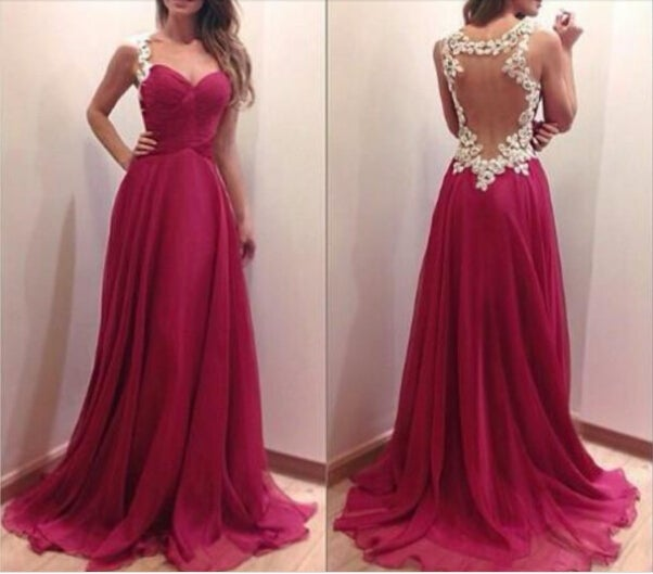 Sexy and Pretty Burgundy Lace Applique Prom Dresses 2017, Burgundy Formal Gowns 2017