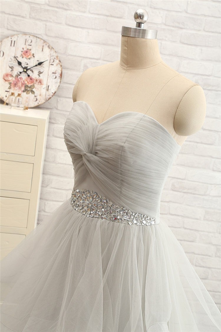 Custom Handmade Grey Tulle Lace-Up Prom Dresses 2016, Evening Gown 2016