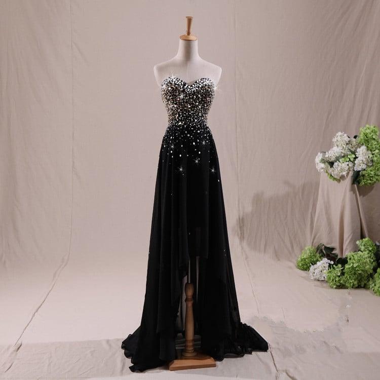 Charming Black High Low Beaded Prom Dresses 2017, Black Evening Dresses