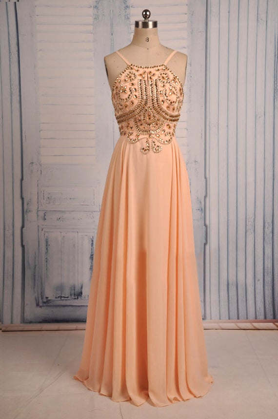 Pretty Peach Pink Spaghetti Straps Prom Dresses , Prom Gowns ...