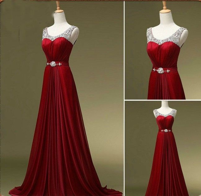 Pretty Wine Red Sequins Long Prom Dresses, Long Party Dresses, Evening Dresses