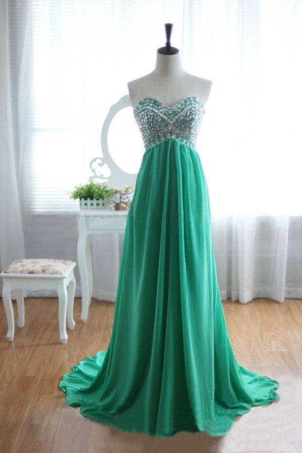 Sparkle Green Beaded Long Prom Dresses 2016, Prom Gowns, Evening Dresses