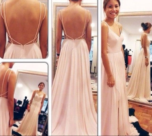 Pretty Handmade Spaghetti Straps V Neck Pink Backless Prom Dress , Evening Dresses