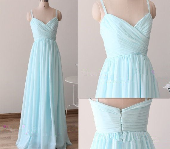 Beautiful Simple Blue Straps Long Prom Gowns, Light Blue Bridesmaid Dresses
