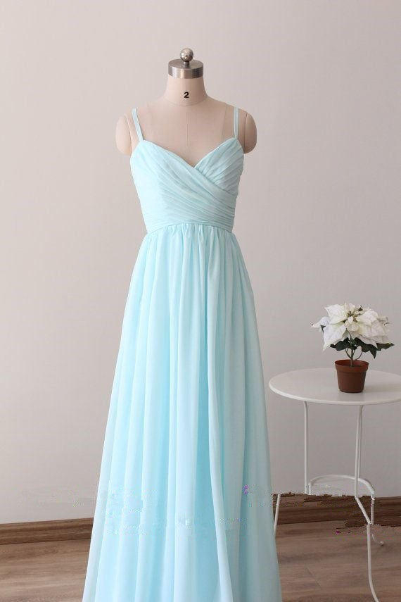 amazing quality new images of recognized brands Beautiful Simple Blue Straps Long Prom Gowns, Light Blue Bridesmaid Dresses