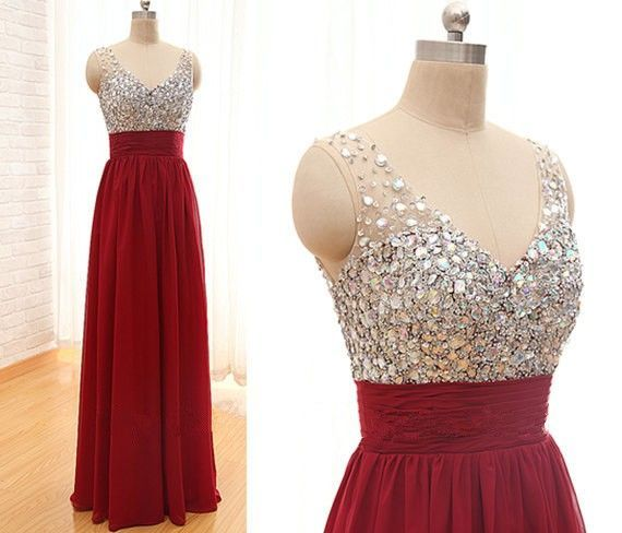Sparkle Wine Red Beadings Straps Long Prom Dresses 2016, Prom Gowns, Evening Dresses