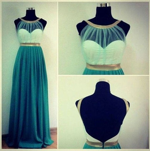 Charming Green-Blue Backless Prom Dresses 2016, Formal Dresses 2016, Party Dresses