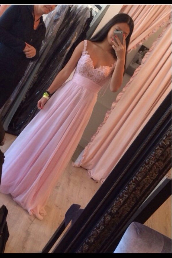 Lovely Pink Straps Lace Applique Prom Dresses , Pink Prom Dresses, Evening Dresses