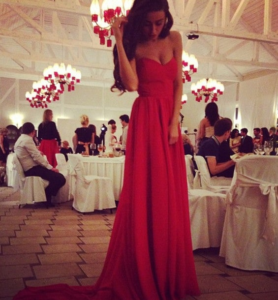 Pretty Red Sweetheart Sweep Train Chiffon Prom Dresses, Red Evening Dresses, Party Dresses