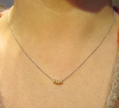 Image of 14k Gold (Rose or Yellow) Sparkle Donut Slide Necklace (Rhodium chain)
