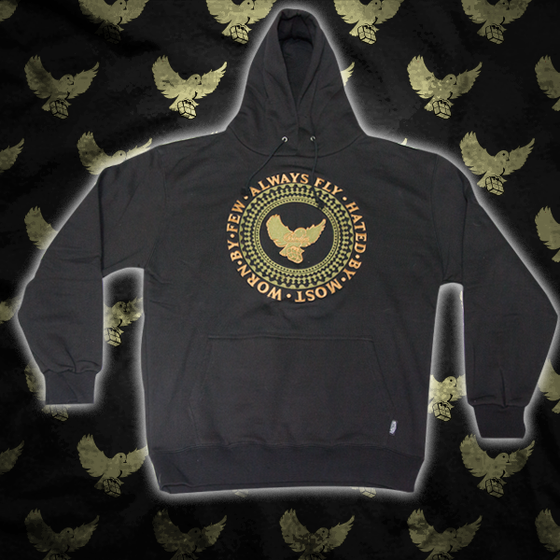 Image of Black/Olive Birdies Crest Hoodie