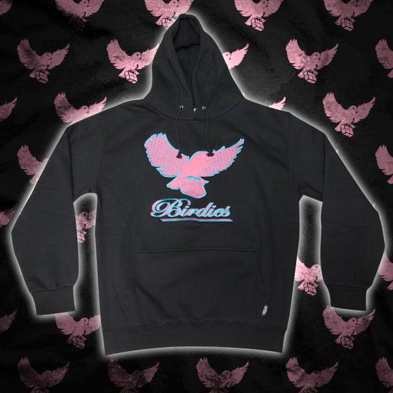 Image of Black/Pink/Lt.Blue Pattern Birdies Hoodie