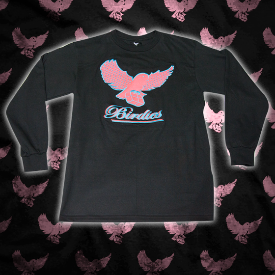 Image of Black/Pink/Lt.Blue Pattern Birdies Long Sleeve T Shirt
