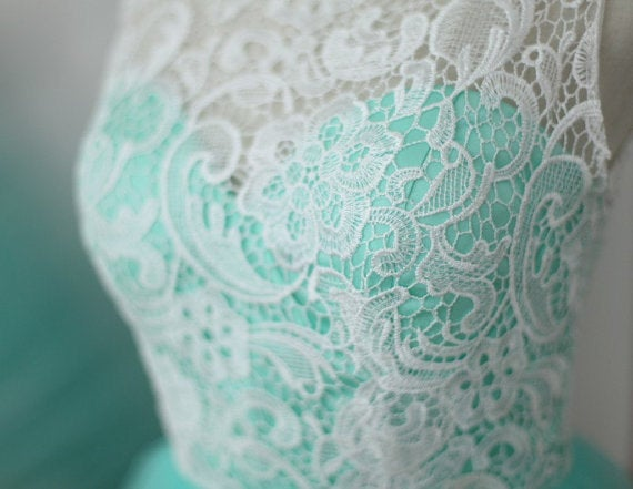 Beautiful Mint Tulle Lace Prom Gowns , Formal Gowns, Evening Dresses