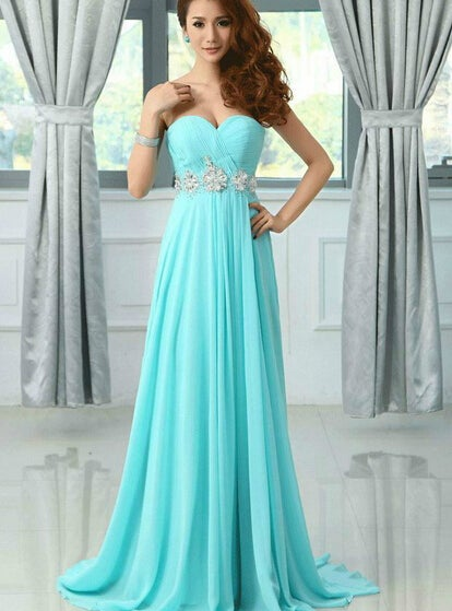 Beautiful Sweetheart Long Blue Beaded Prom Dresses , Evening Gowns, Formal Dresses