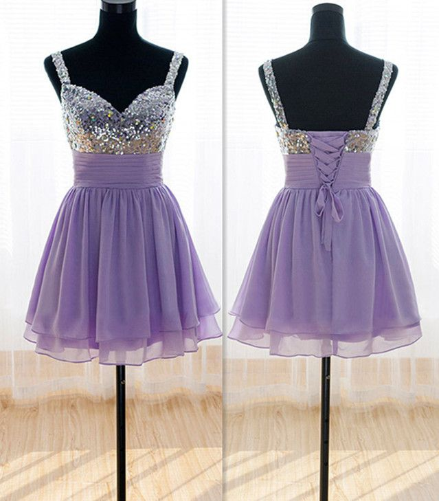 Adorable Handmade Lavender Short Sequins Prom Dress 2016 with Bow, Bridesmaid Dresses 2016