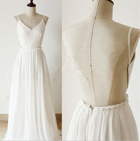 Sexy White Simple Backless Lace Top Prom Dress , White Prom Dresses, Evening Dresses
