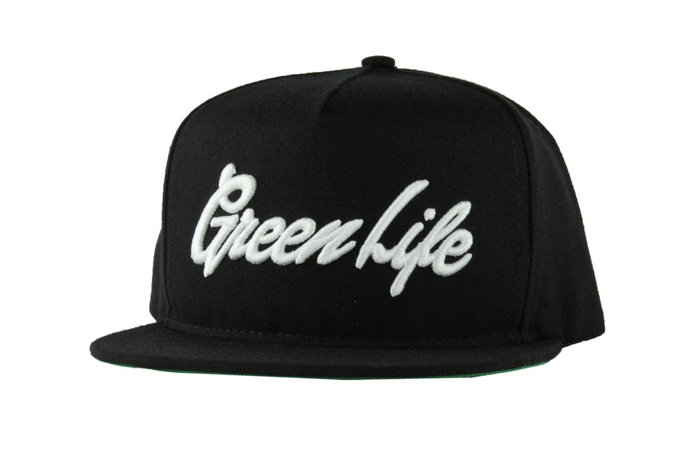 Image of The GreenLife Font Snapback Hat in Black