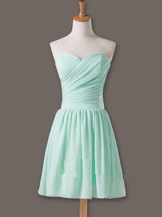 Lovely Handmade Sweetheart Prom Dresses , Mint Bridesmaid Dresses, Short Formal Dresses