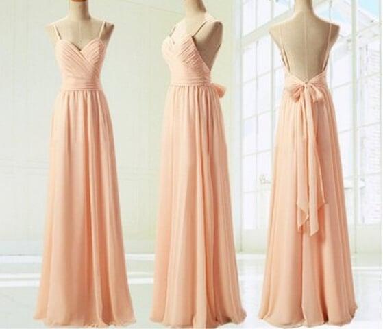 Beautiful Pink Straps Backless Prom Dresses , Bridesmaid Dresses, Pink Formal Dresses