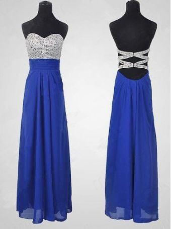Glam Handmade Royal Blue Beaded Prom Dresses, Blue Prom Dress, Evening Dresses for Sale