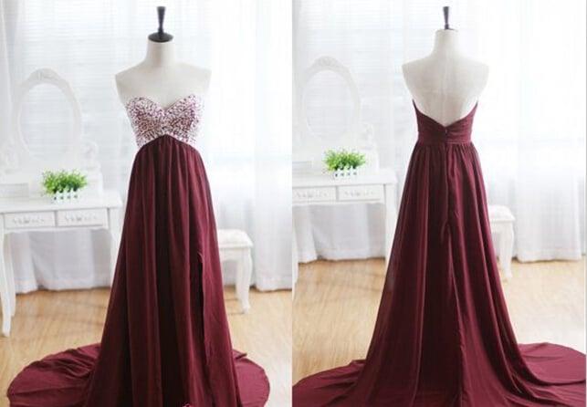 Beautiful Handmade Maroon Beaded Prom Dress 2016, Long Prom Gowns, Evening Dresses