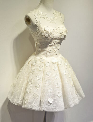 86c92c76da Image of Cute Lace Champagne Flower Ball Gown Short Homecoming Dress