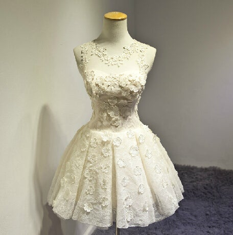 Cute Lace Champagne Flower Ball Gown Short Homecoming Dress, Mini Prom Dress