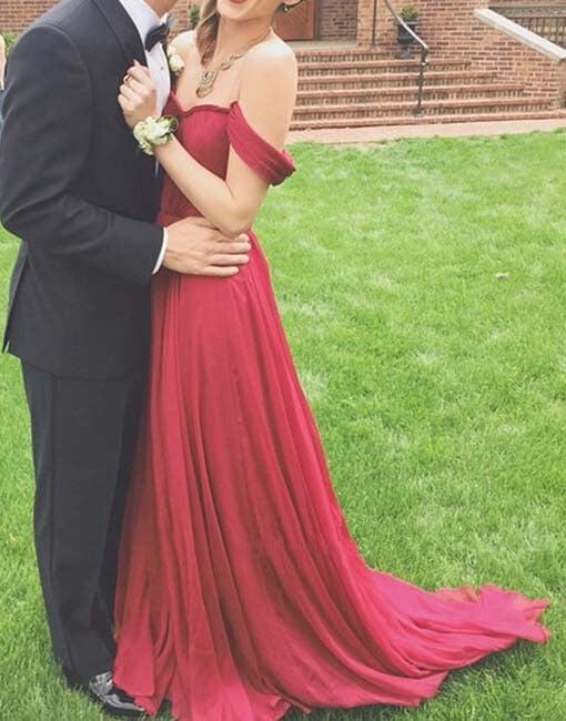 Charming Burgundy Off Shoulder Prom Dresses 2016, Evening Dresses, Formal Dresses