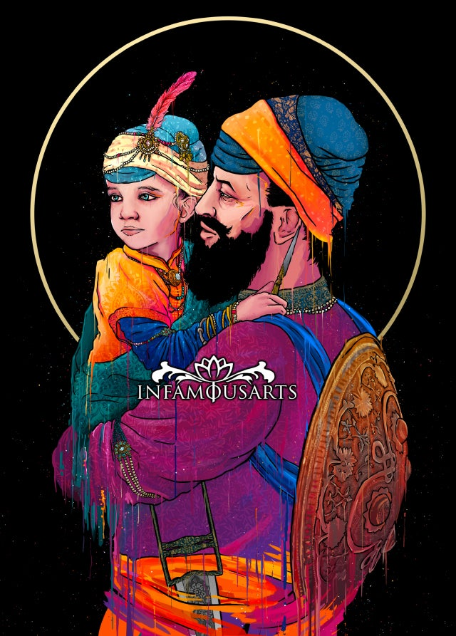 Image of A Final Embrace of Sri Guru Tegh Bahadur Sahib ji & Gobind Rai Sahib ji