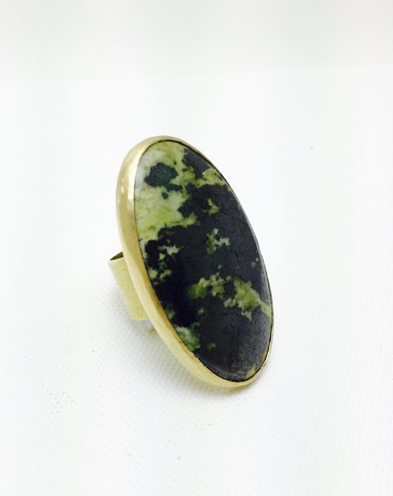 Image of Madu - Natural Green Jade & Brass Ring
