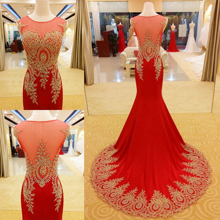 Pretty Red Mermaid Long Applique Prom Gown 2016, Red Prom Dresses, Party Dresses